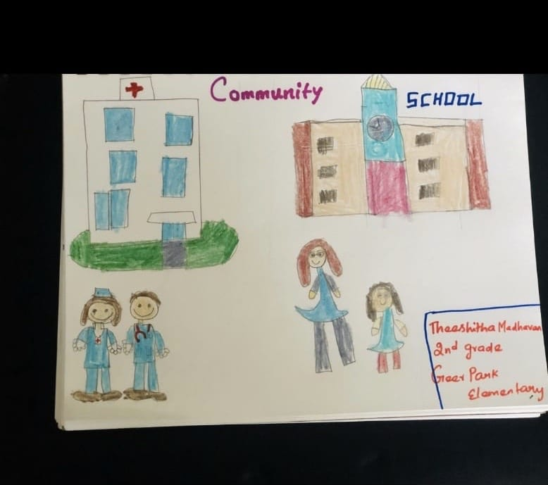 """Drawing of a hospital with doctors outside of it and a school with a teacher and student outside of it and it is labeled at the top """"Community School"""""""