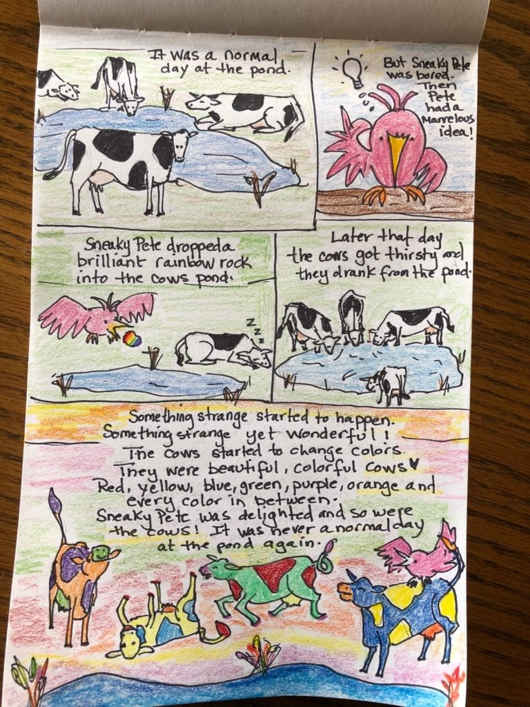 Comic that shows cows by a pond, then a pink bird comes and drops a rainbow rock into the pond, the cows drink the water and then turn into colorful cows