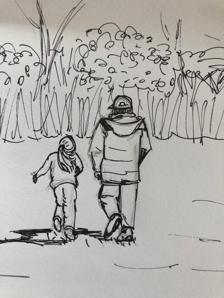 Drawing of two people walking away towards a wooded area