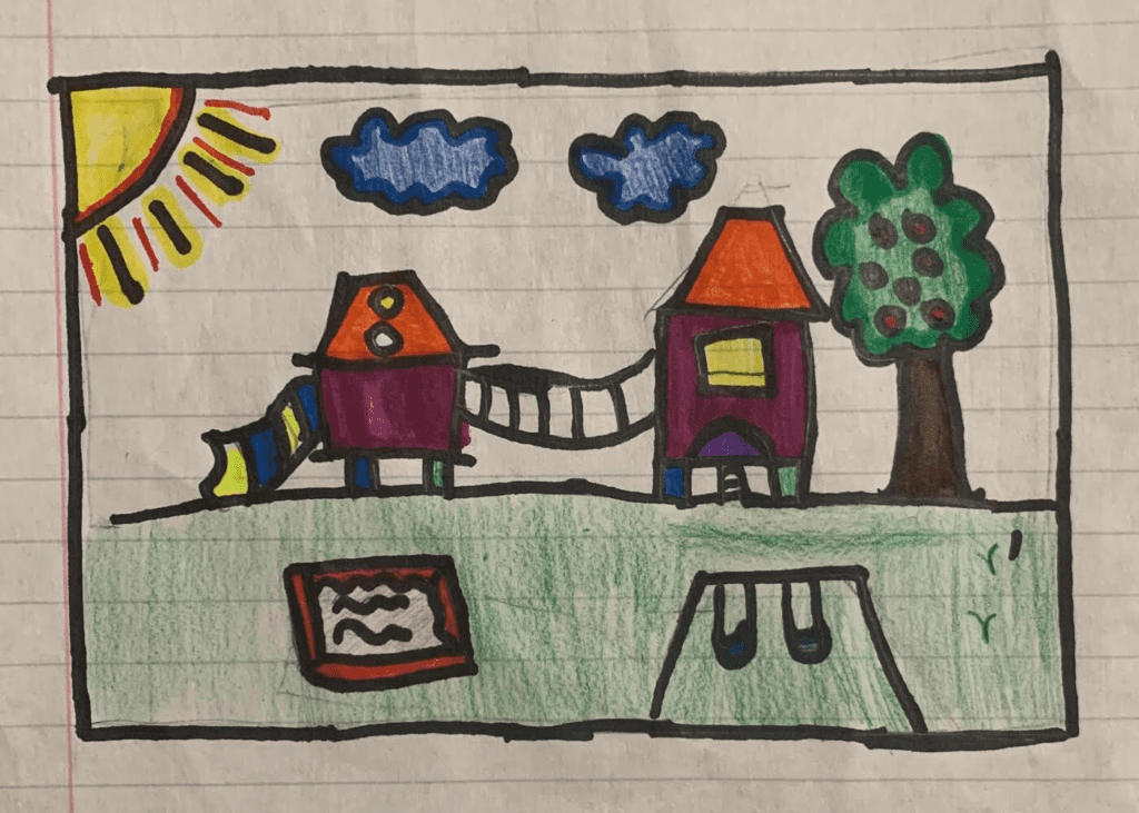 A drawing of a playground with a swings, a slide, a tree, and a sun