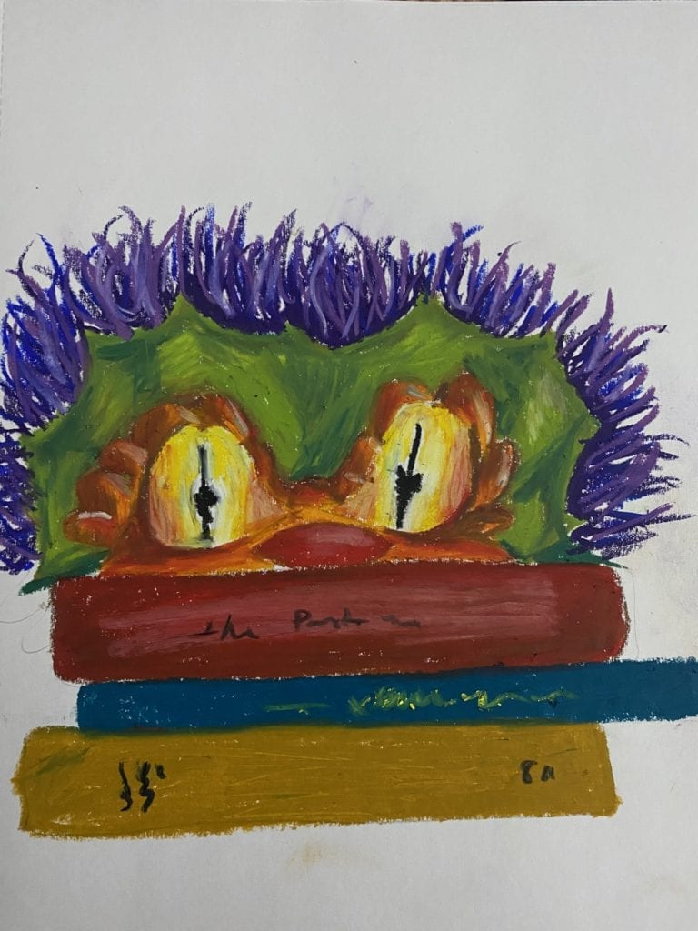 a drawing of the top of the head of a colorful monster looking over three stacked books