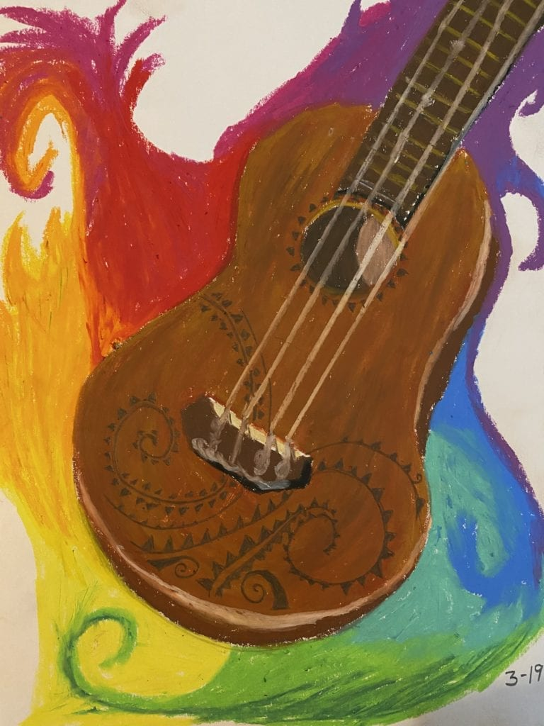 Here is a drawing of a ukulele that has swirl designs on the bottom of it and there are colorful patches of swirls surrounding it.