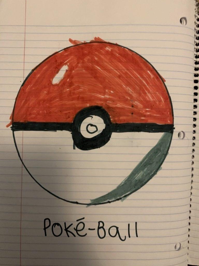 drawing of a poke ball