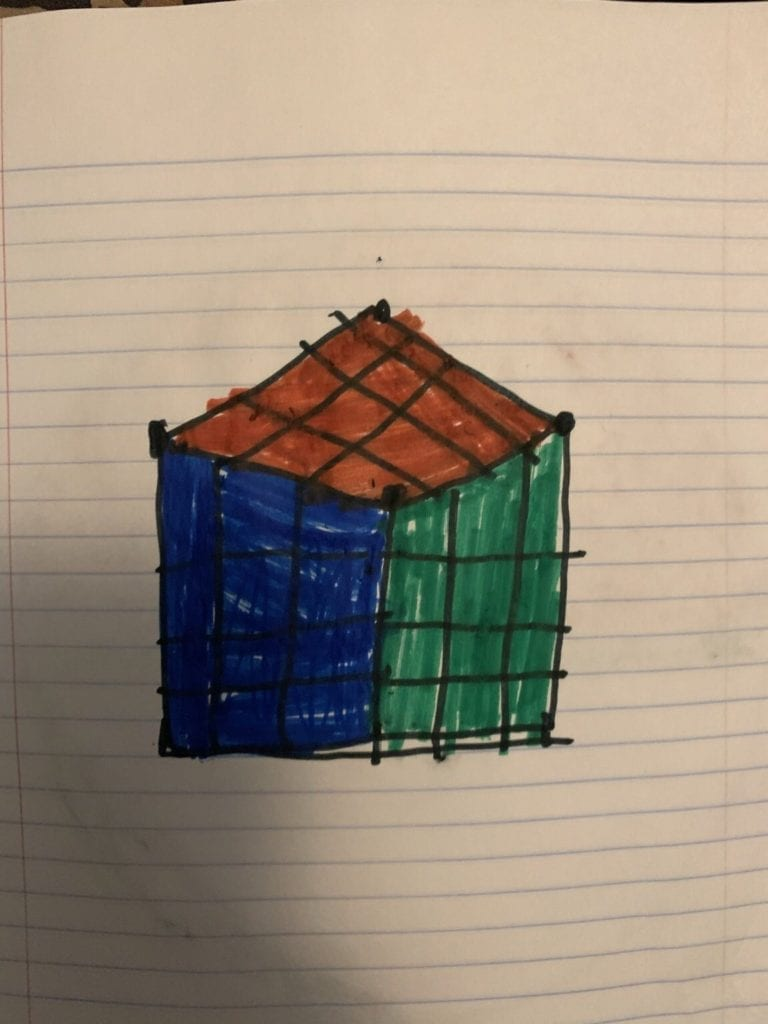 drawing of a solved rubics cube