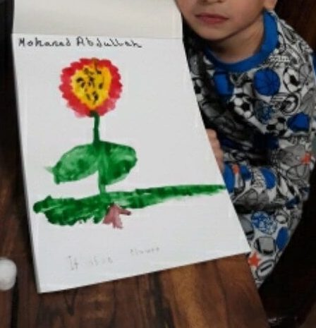 Student drawing of a flower.