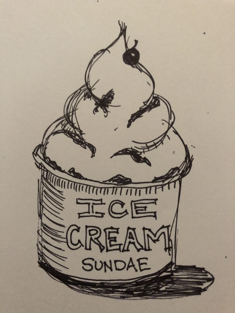 Here is a drawing of an ice-cream sundae; it is drawn with black marker on white paper.