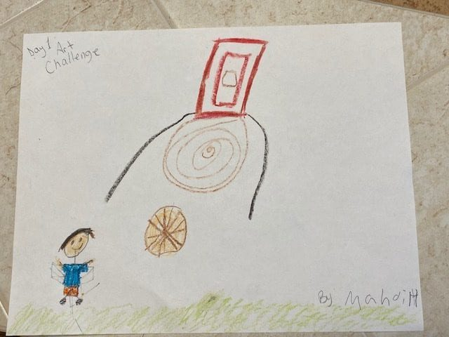 Drawing of a boy shooting a basketball into a hoop