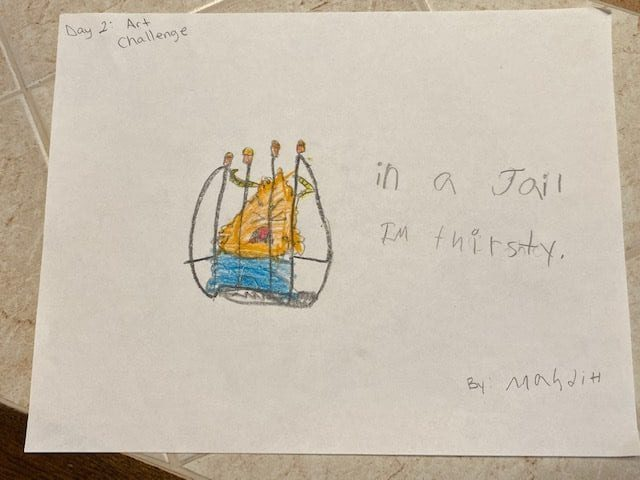 """Drawing of an orange monster wearing blue pants behind jail bars that says """"in jail, I'm thirsty."""""""