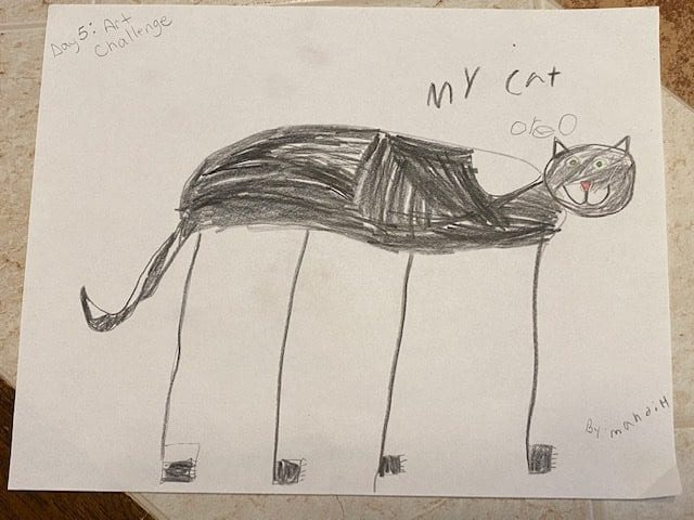 """drawing of a black cat that says """"my cat"""""""