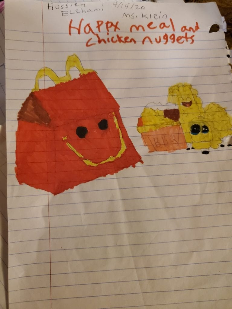 drawing of a red happy meal and yellow chicken nuggets