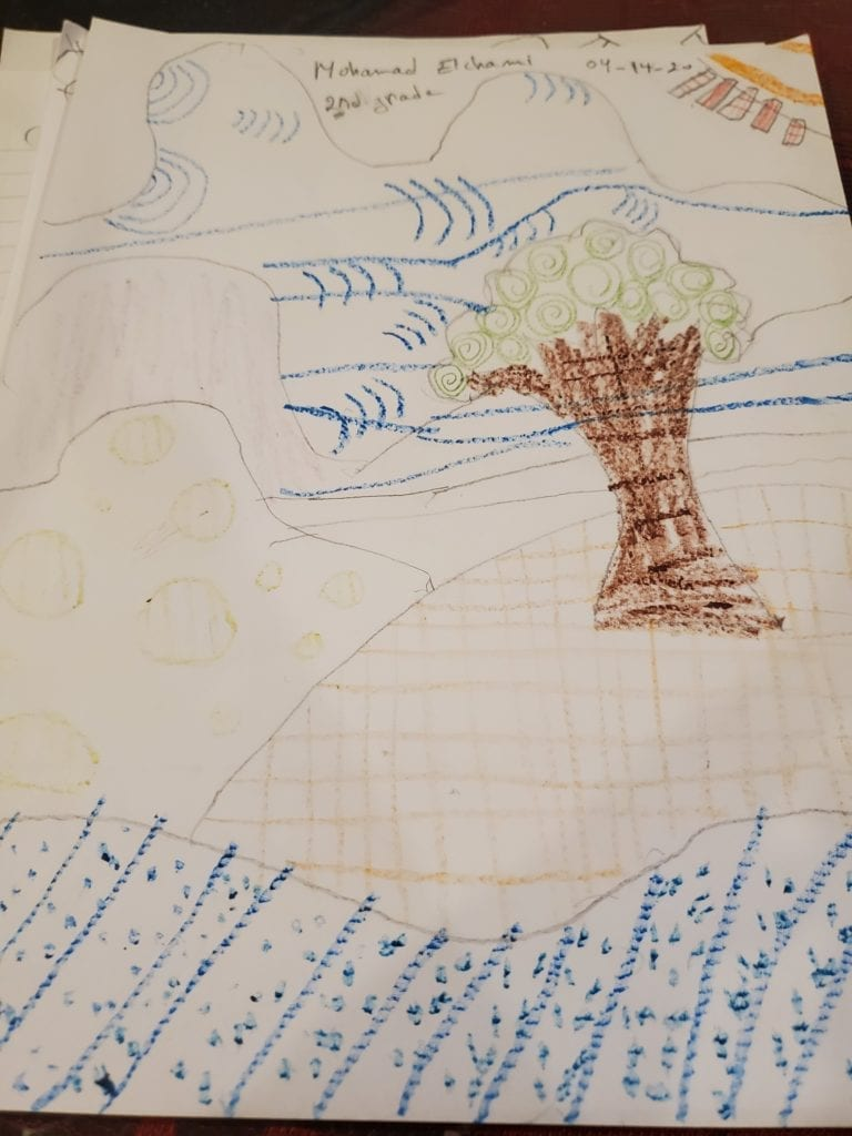 drawing of hills and a tree, all of the hills and the tree have different pattterns made of lines drawn in them