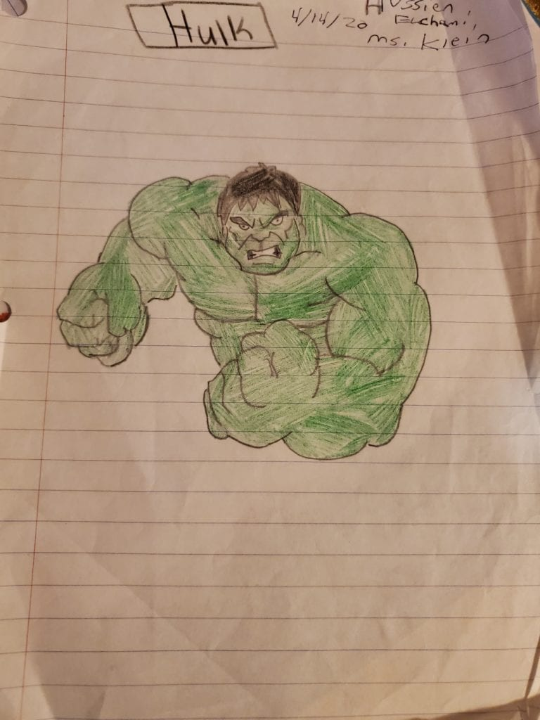 drawing of a green hulk on lined paper