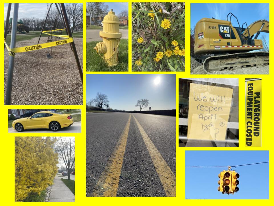 10 pictures arranged together on a yellow background, all of the pictures show something that is yellow, flowers, a truck, a car, lines on the street