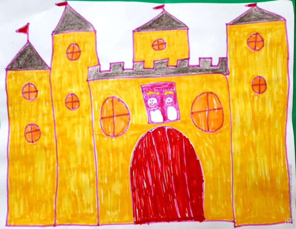 golden yellow castle drawing