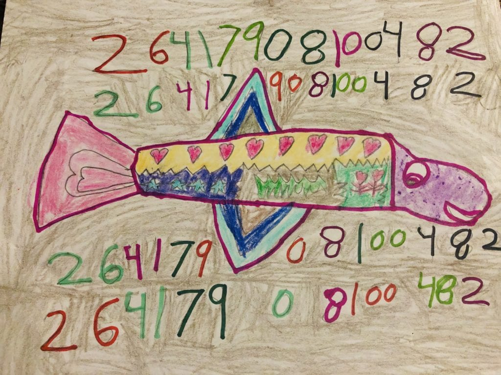 fish drawing with a pattern in the body and numbers around the fish