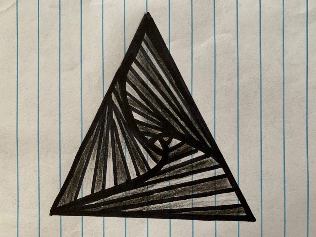 triabgle drawing with lines in the center of the triangle drawn in an optical illusion