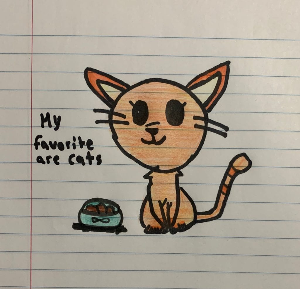drawing of a cat next to a food dish