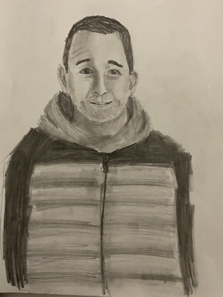 drawing of a man with dark hair wearing a hooded jacket; it is drawn in pencil