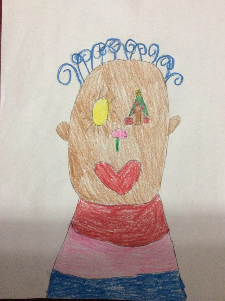 a drawing of a boy with blue hair, a sun for an eye, a heart for a mouth, a tree for an eye, and a flower for a nose