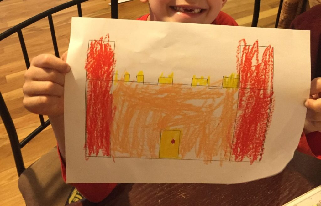 warm colored castle drawing