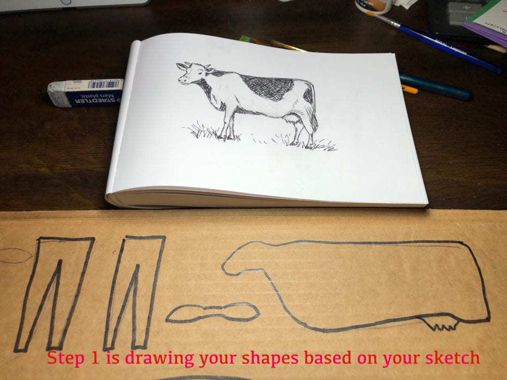 Step 1 is drawing your shapes based on your sketch