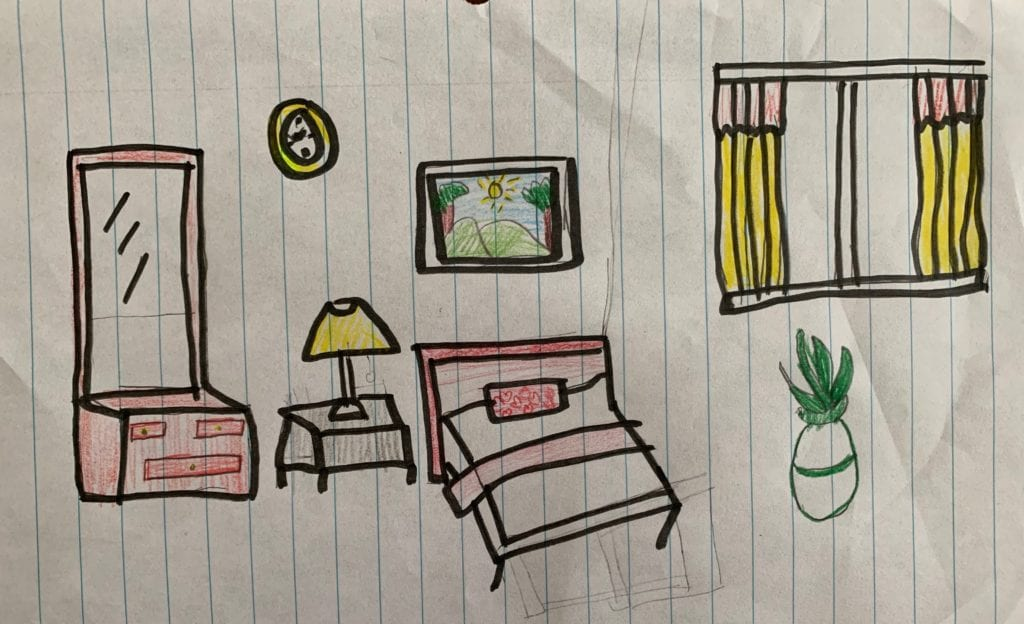 drawing of a bedroom on lined paper; there is a bed, a lamp on a table, curtains, art on the wall, and a plant in a vase