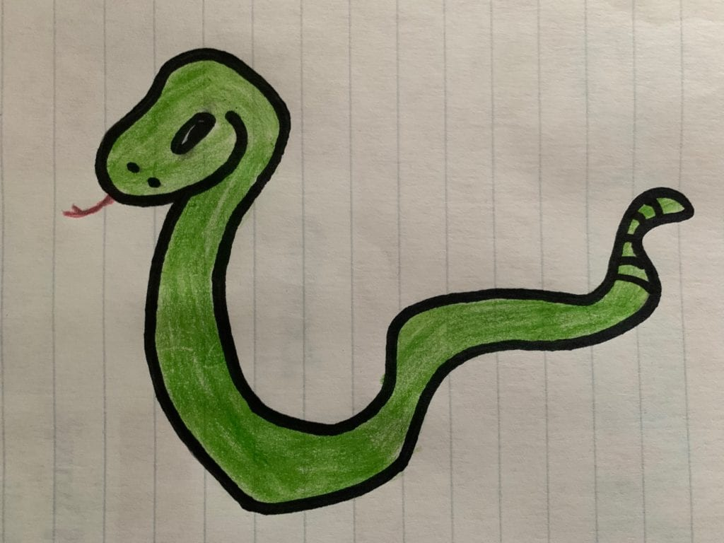 drawing of a green snake