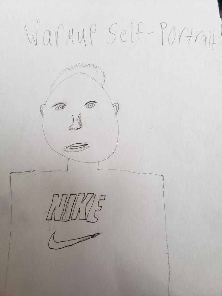 drawing of a person with a nike shirt
