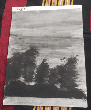black and white landscape drawing with a gray sky and black trees