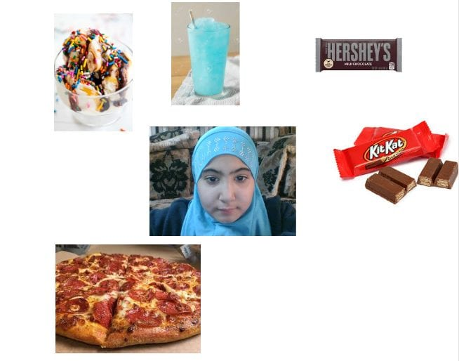 student collage with her photo in the center and foods around her like pizza, candy, and ice cream