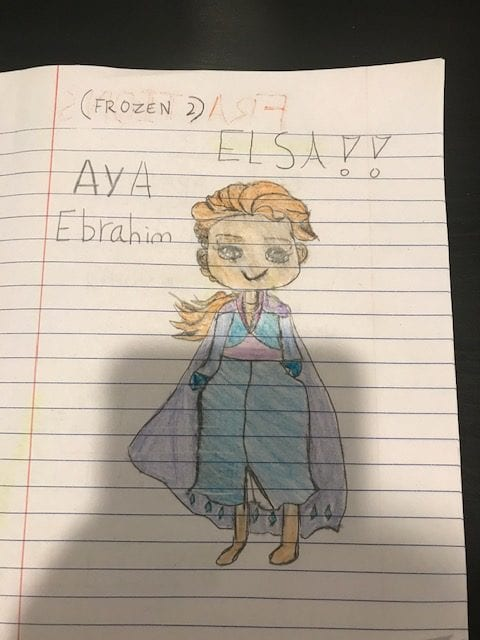 Drawing of Elsa from Frozen colored with crayons