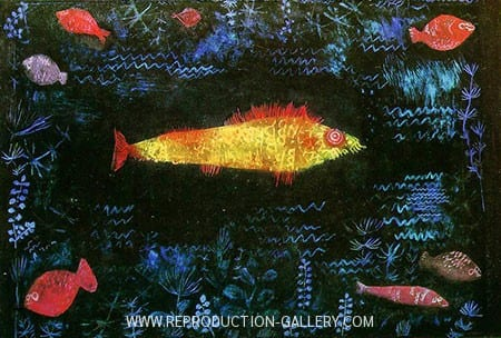 yellow fish with red find in the center of the painting, the background is black with small light blue scratch marks all around as well as smaller red fish around the edges