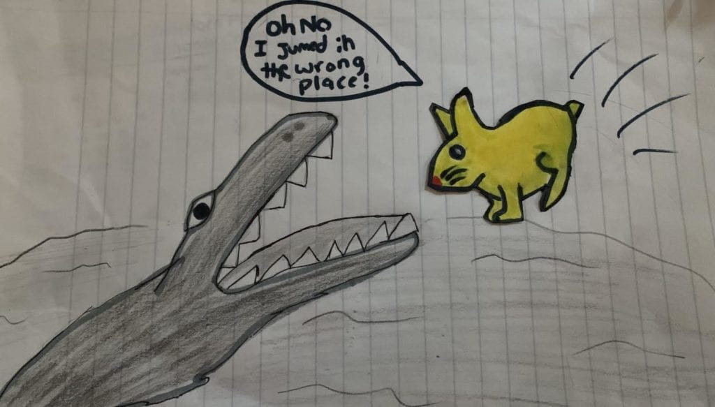 drawing of a yellow bunny jumping into an animals mouth in the water