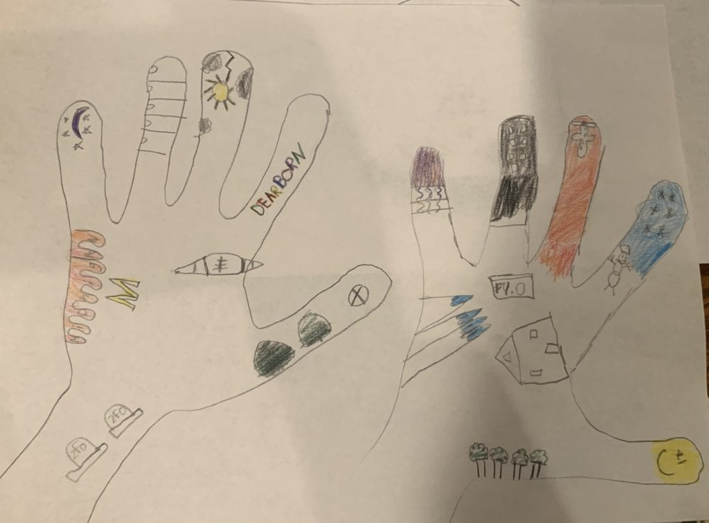 drawing of two hands with smaller drawings inside and everything is colored in