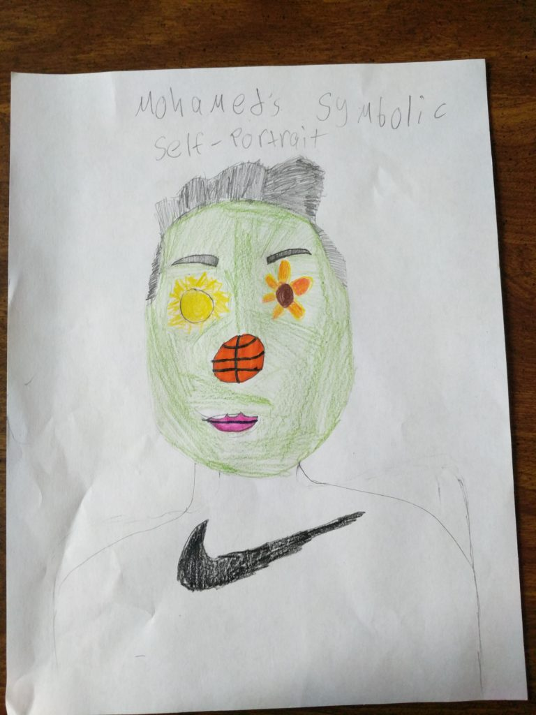 drawing of a person with a green face, basketball nose, sun eye, and a flower eye