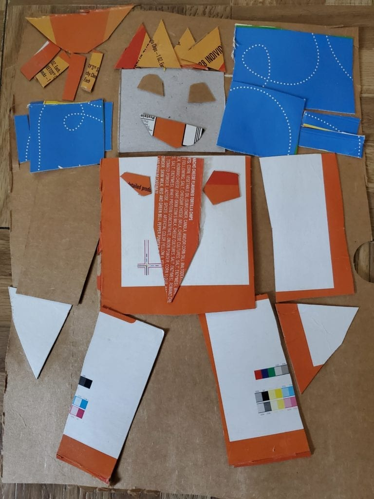 robot made with recycled caryboard