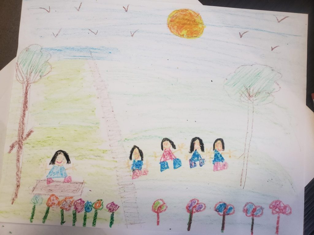 drawing of people siting outside by grass, water, trees, and flowers