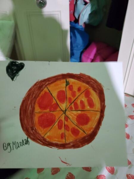 a drawing of a pizza