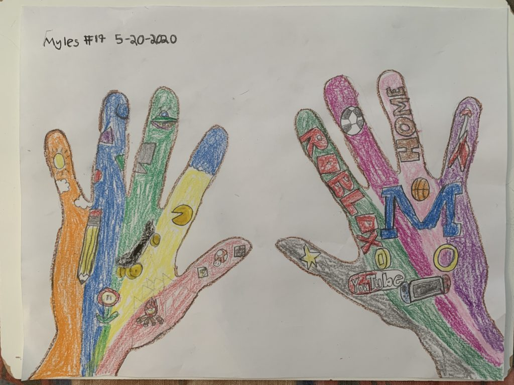 drawing of two hands with smaller drawings inside of the hands colored with many different colors