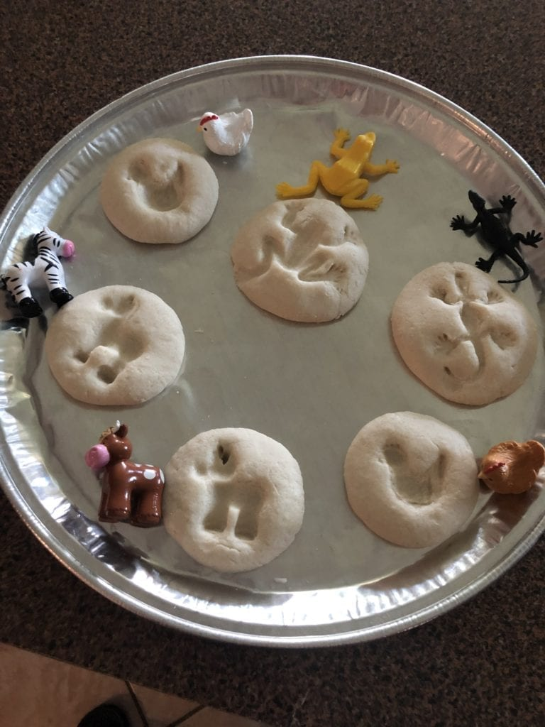 salt dough circles made into molds with small frog toys