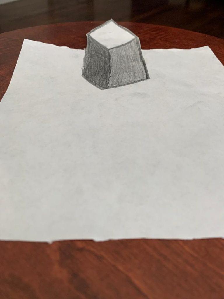 pencil drawing of a 3d cube