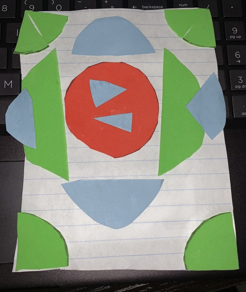 circles and semi circles glued on a paper