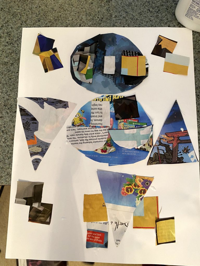 collage made from shapes cut from a magazine