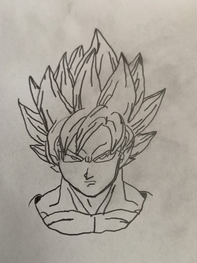 drawing of an anime character with tall spikey hair