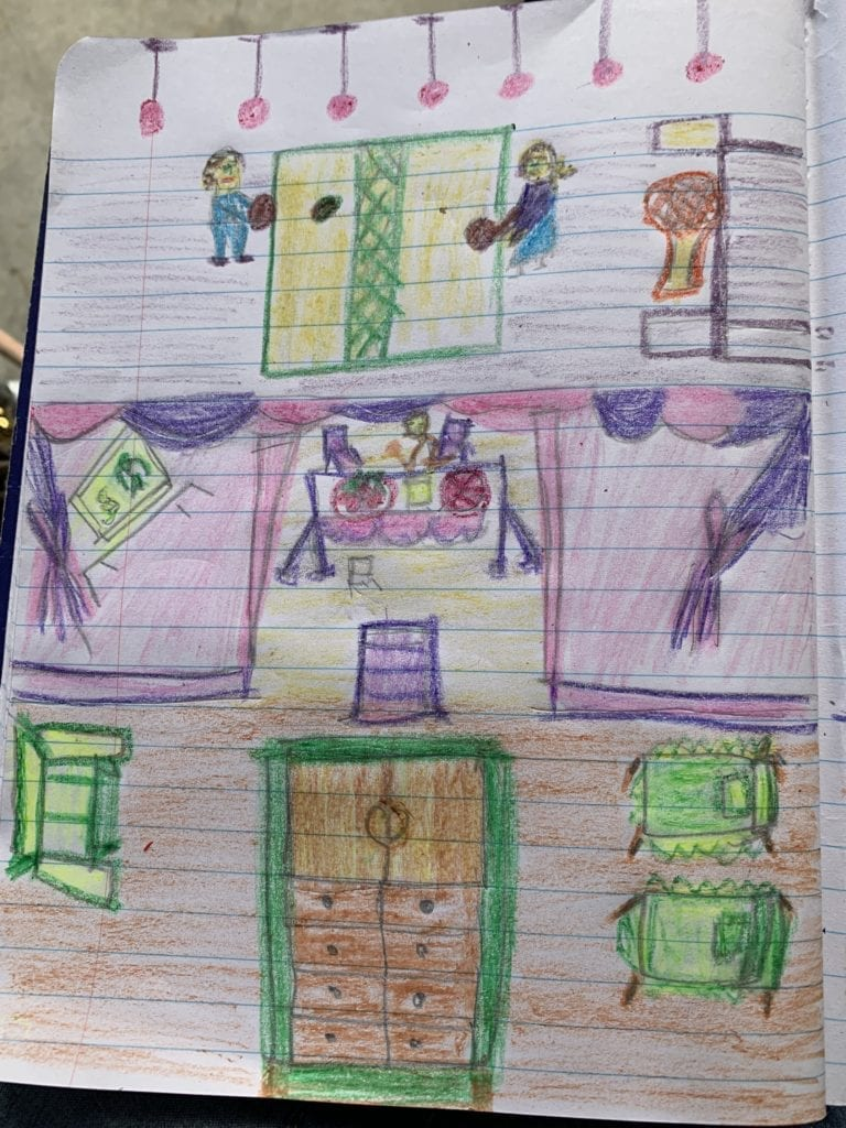 drawing of inside of someones house
