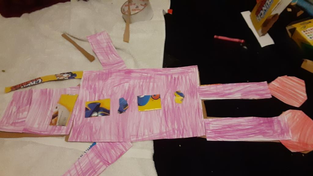cardboard roboto colored pink