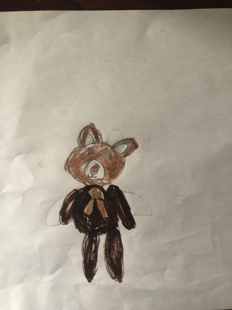 drawing of a brown rabbit stuffed animal