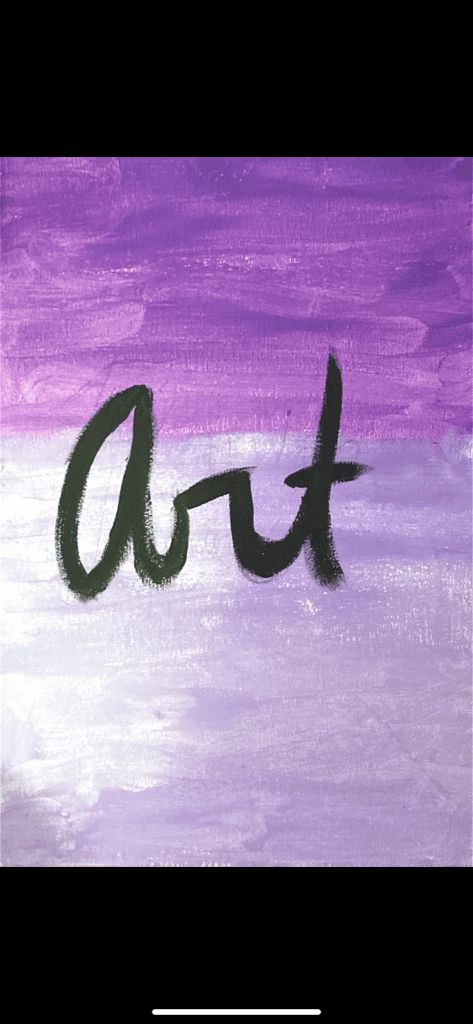 painting that shows the word art in black with two shades of purple in the background