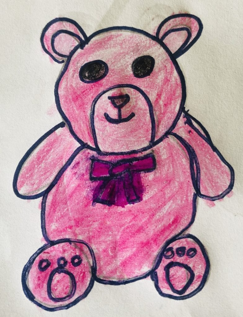 drawing of a pink bear stuffed animal