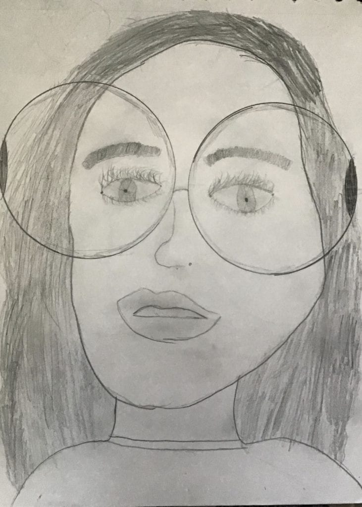 pencil drawing of a person with long hair and glasses